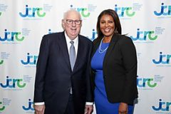 NYS Attorney General Letitia James (right) and JCRC-NY President Charles S. Temel (left) are honored at the Jewish Community Relations Council of New York.