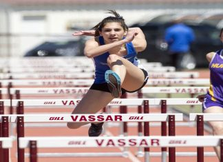 Sophomore Samantha Papdopoulos had a big day for the Knights, winning a pair of hurdle events.