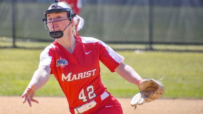 Marist Freshman Calista Phippen held the Jaspers without a hit for the first 4.1 innings. She finished with 13 strikeouts.