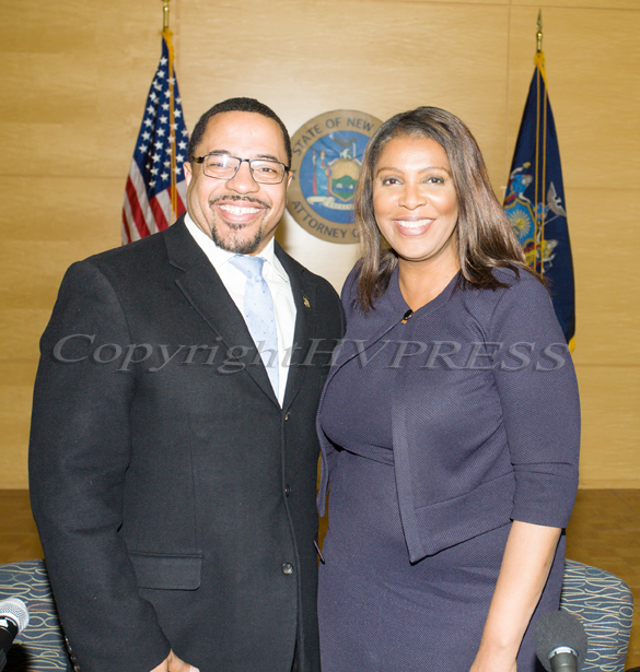City of Newburgh Torrance Harvey with New York State Attorney General Letitia James who hosted a forum in Newburgh on solutions to combat the opioid epidemic in NY State on Saturday, April 6, 2019. Hudson Valley Press/CHUCK STEWART, JR.