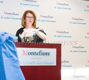 St. Luke's Cornwall Hospital President and CEO Joan Cusack-McGuirk unveiled the hospitals new name,  Montefiore-St. Luke's Cornwall Hospital, during a press conference on Monday, March 25, 2019. Hudson Valley Press/CHUCK STEWART, JR.