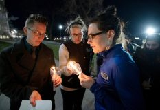 """Members of the Mount Saint Mary College community took part in the college's """"Take Back the Night"""" march on Thursday, April 4. Photo: Lee Ferris"""