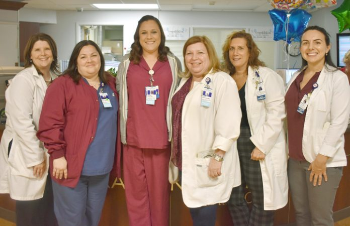 Sue Curry, Director of Clinical Practice, Kathryn Elias, Manager of the MSLC Birthing Center and NICU, Jessica Molosh, RN and Daisy Award Recipient, Jeanne Boydston, Director of the MSLC Birthing Center and NICU, Margaret Deyo Allers, Vice President of Patient Care Services and Chief Nursing Officer, Stephanie Paroulo, Assistant Vice President of Patient Care Services.