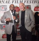 Former USMC Master Sgt. and Master of Ceremony's of the Hoboken International Film Festivals Red Carpet Joe Wooley with former Governor of Minnesota Jesse Ventura. Governor Ventura was awarded the HIFF Lifetime Humanitarian Award.