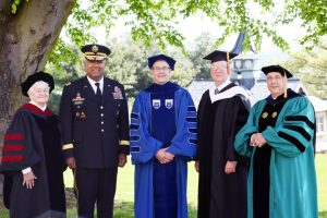 Mount Saint Mary College's 56th annual Commencement, Saturday, May 18. Left to right: Sr. Peggy Murphy, OP, professor of Religious Studies; honorary degree recipient and Commencement speaker Lt. Gen. Darryl A. Williams, Superintendent of The United States Military Academy at West Point; Dr. Jason N. Adsit, president of Mount Saint Mary College; Charles Frank, chair of the Board of Trustees of Mount Saint Mary College; and Fr. Gregoire Fluet, college chaplain and director of Campus Ministry. Photo by Lee Ferris.