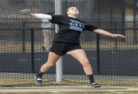 Mount Saint Mary College Sophomore Alexandra Salamone posted a pair of top-10 finishes for the Knights and set a new school record in the Hammer Throw.