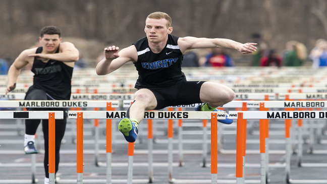 Sean Farrell scored a win for the Knights in the 400-meter hurdles.