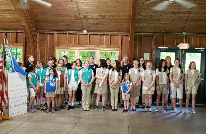Girl Scouts of Warwick and Troop Leaders at Camp Wendy in Wallkill pose for a photo.