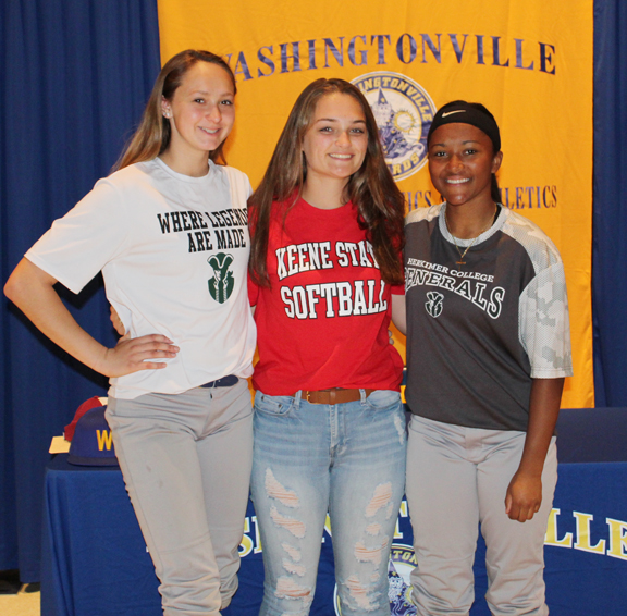 Dyana Budakowski, Lily Moreno, and Angelina Packtor each committed to playing softball at their respective colleges this fall.