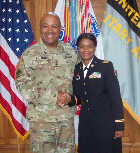 On Friday, in the Thayer Award Room of The United States Military Academy, Jamie Hickman officially was promoted to the rank of Major by Lieutenant General Darryl A. Williams, Superintendent, the first African-American to hold this post in the USMA's 216 year history.
