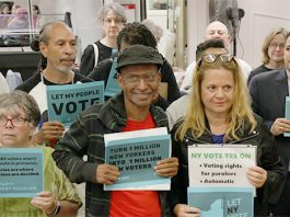 Community activists, voters' rights organizations and elected officials rallied in the City of Newburgh, Thursday, urging the community to contact their state representatives to pass two pieces of voter's rights legislation regarding automatic voter registration and the right to vote for paroled felons.