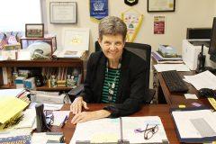 Retired NPHS Principal Barbara Clinton enjoys one of her last days on the job.