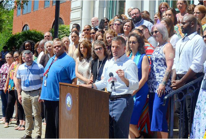 Dutchess County Executive Marcus J. Molinaro joined local leaders today to celebrate refurbishments to the Dutchess County Department of Community and Family Services' (DCFS) main office.