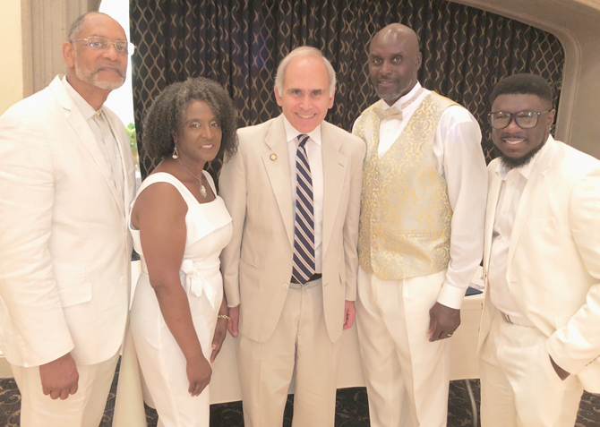 Elijah C. Beamon (Air Force), Maureen Weise-King (Army), Malcolm Burks (Army) and Jerrod Lang (Army) with NYS Assemblyman Jonathan Jacobson, center, at The Hotel Thayer for the Resiliency All White Affair. Jacobson presented each with an Assembly citation in recognition of their honor.