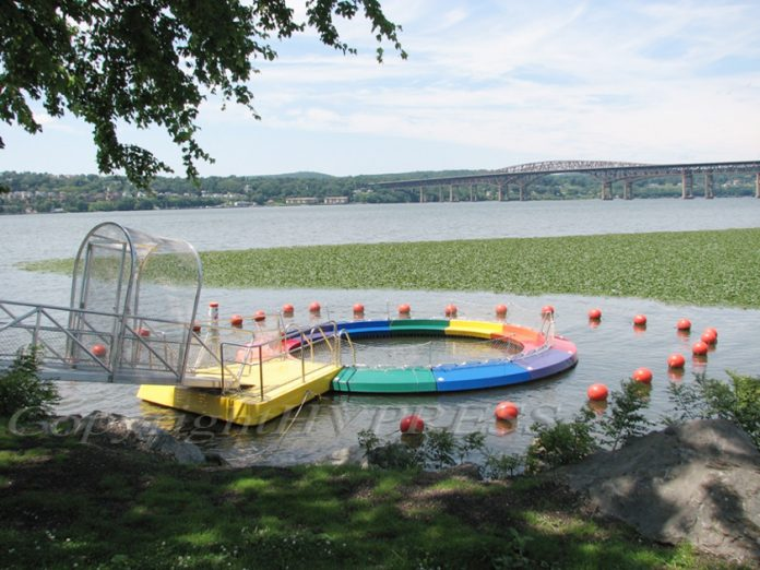 The River Pool in Beacon has been installed for the summer of 2019 off the north shore of Pete and Toshi Seeger Riverfront Park. Hudson Valley Press File/CHUCK STEWART, JR.