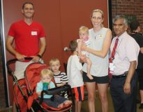 Dr. KP pictured with families at the Montefiore St. Luke's Cornwall Elaine Kaplan Neonatal Intensive Care Unit's 22nd Annual NICU Graduate Birthday Party.