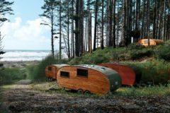 Glampers staying at Roam Beyond's Kalaloch site on Washington's Olympic Peninsula can spend the night listening to the sounds of the pounding surf and chirping birdsong in an eco-friendly, solar-powered camping trailer. Photo: Homegrown Trailers.