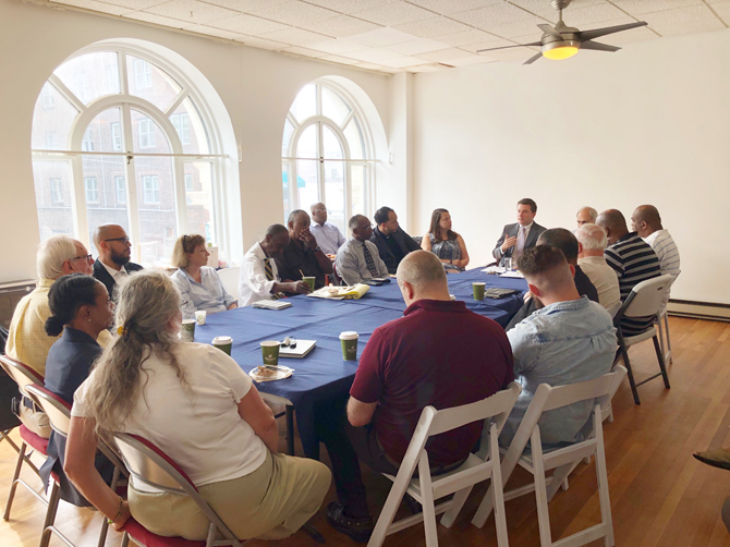 Senator James Skoufis (D-Hudson Valley) and Assemblyman Jonathan Jacobson (D-Newburgh) hosted a roundtable meeting for leaders of faith-based organizations in the City of Newburgh to discuss legislative priorities and local concerns. Over 20 leaders of several congregations and faiths in the area joined the State officials.
