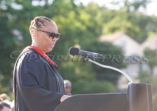 The Poughkeepsie City School District fired high school principal Seimpson during a special meeting Monday. Pictured above is Phee Simpson during the 2016 Poughkeepsie High School Graduation. Hudson Valley Press File/CHUCK STEWART, JR.