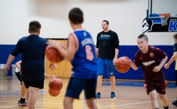 Local youth spent a week learning new basketball skills recently from members of the Mount Saint Mary College Knights Basketball team, overseen by Head Coach Ryan Kadlubowski. Photo: Lee Ferris