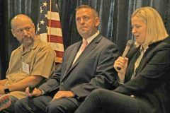Representatives from some of the county's new additions to the local business community shared their thoughts on what influenced their decision to do business in Orange County. Pictured above: City Winery CEO Michael Dorf, County Executive Steven Neuhaus, Hudson Valley Sports Complex President Ralucha Gold-Fuchs.