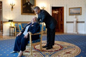 President Barack Obama talks with Presidential Medal of Freedom recipient Toni Morrison in the Blue Room of the White House, May 29, 2012. Official White House Photo: Pete Souza