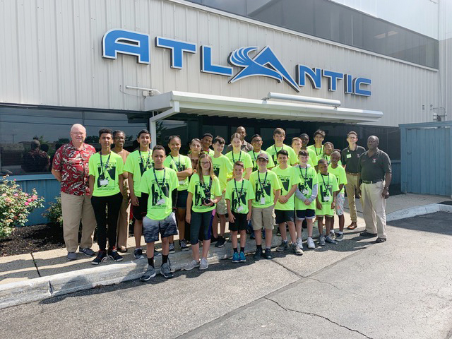 Campers and counselors attending the 2019 Tuskegee Airmen Aviation Summer Camp at Atlantic Aviation's New York Stewart International Airport facilities.
