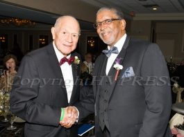 Former NYS Senator William Larkin with Rev. Nelson McAllister at a community event in November of 2017. Larkin, who ended a four-decade political career last December, passed away Saturday at the age of 91. Hudson Valley Press File/CHUCK STEWART, JR.