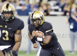 Army QB Kelvin Hopkins paced the Black Knights (1-0) on the ground against Rice (0-1) with 80 yards on 21 carries to go along with his first rushing score of the year as the Black Knights defeated the Rice Owls 14-7 at Michie Stadium at the United States Military Academy in West Point, NY on Friday, August 30, 2019.