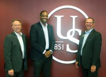 Congressman Antonio Delgado visits Ulster Savings Bank. Pictured (from left to right): John Finch, EVP/Chief Operating Officer, Ulster Savings Bank; U.S. Congressman Antonio Delgado, 19th District of NY; and Bill Calderara, President and CEO, Ulster Savings Bank pose a photo.