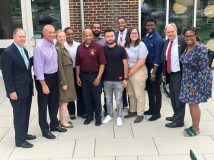 Pictured with Speaker Heastie at Farmingdale State College is Farmingdale State College VP for Institutional Advancement Patrick Calabria, Assemblymember Steve Stern, members of the Student Senate, Farmingdale State College President Dr. John Nader and Assemblymember Jean-Pierre.