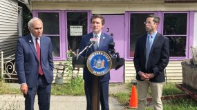 Senator James Skoufis (D-Hudson Valley) at podium and Assemblyman Ken Zebrowski (D-Rockland), right, announced Monday that their legislation to require disclosure of residential properties owned by limited liability companies (LLCs) was signed into law by the Governor. Under the new law, anonymous LLCs will now be required to share the names and contact information for all owners, managers, and agents associated with the company at the time of a real estate transaction. NYS Assemblyman Jonathan Jacobson, left.
