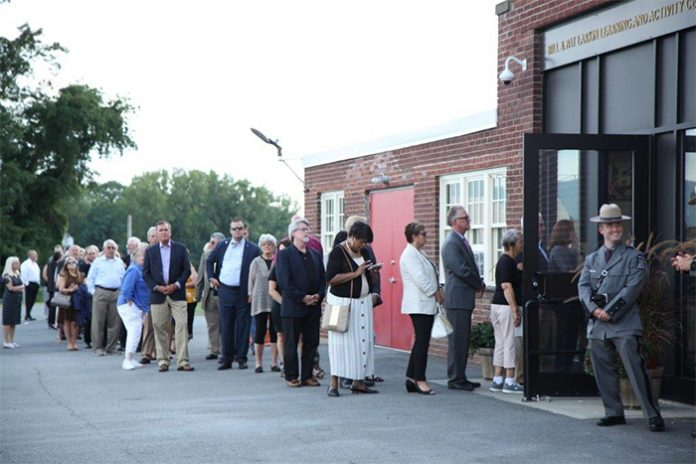 Hundreds lined up outside the building that bears Larkin's name last week to pay their final respects.