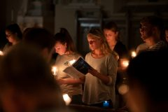 Students and staff filled Mount Saint Mary College's Chapel of the Most Holy Rosary with candlelight during the annual September 11 vigil. Photos: Lee Ferris