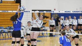 Senior Morgan Burke became the new career record holder in blocks on Saturday, posting her 220th career total block, as the Mount Saint Mary College Women's Volleyball team earned a 22-25, 27-25, 25-20, 25-17 victory over Alfred State.