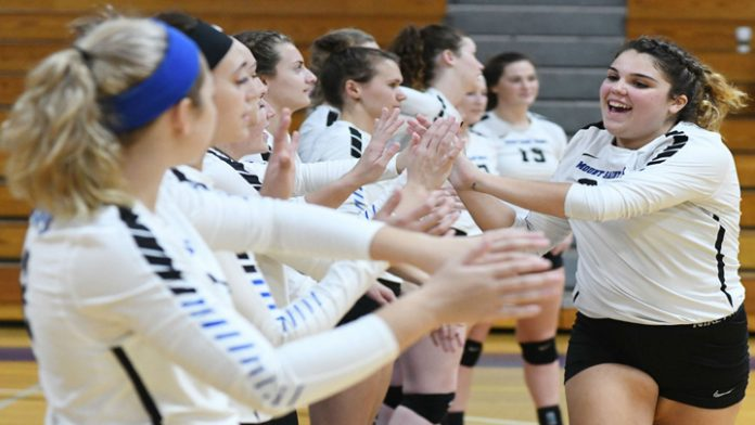 The Mount Saint Mary College Women's Volleyball team closed out play at the New Paltz Invitational on Saturday with an 8-25, 19-25, 23-25 loss to Williams and a 19-25, 18-25, 11-25 defeat at the hands of Kean. Freshman Grace Riddle paced the offensive attack with 12 kills over the two matches for the Knights.