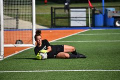 Hawks keeper Megan Tornatore makes a tremendous diving save.