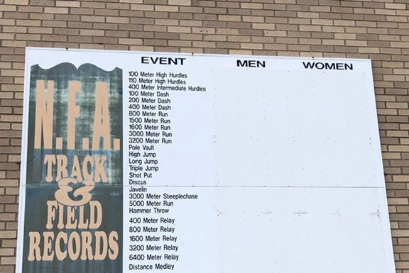 Felicia Hodges spoke about the unexplained removal of the names of the NFA Track and Field Record Holders from the board at the school's track.