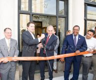 New York State Senator James Skoufis (second from left) and NYS Assemblyman Jonathan Jacobson (center) open their new offices on Grand St. in Newburgh on Tuesday, August 27, 2019 with a ribbon cutting. Assisting are OC Legislator Mike Anagnostakis, Newburgh Mayor Torrance Harvey and OC Legislator Kevindaryan Lujan. Hudson Valley Press/CHUCK STEWART, JR.