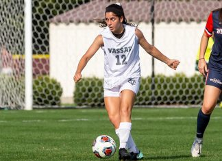 The Vassar College women's soccer team broke open a scoreless game with four second-half goals to claim a 4-0 win over Mount Saint Mary College on Saturday at Gordon Field.