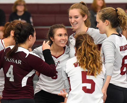 It was an outstanding home opener for the Vassar College women's volleyball team as they swept in tri-meet action on Saturday at Kenyon Hall. Photo: C.Stockton