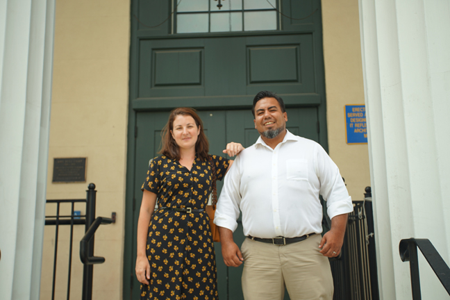 Orange County Historian Johanna Yaun and Sergio Villavicencio, chair of the New York City Semiquincentennial committee at the planning meeting that was held at the 1841 Courthouse in Goshen.