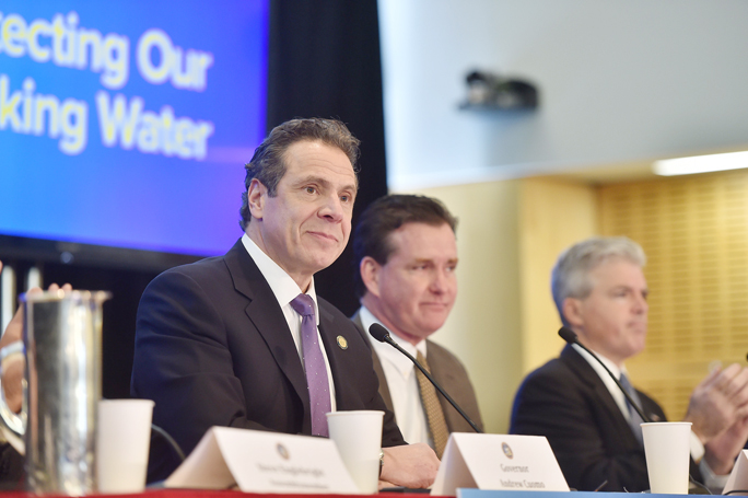 New York State Governor Andrew M. Cuomo speaks at Stony Brook University on New York State's efforts to protect drinking water sources and clean up areas where the water quality has been affected around the state in 2016.