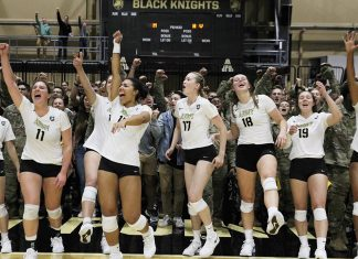 In a dramatic five-setter, it was the Army West Point volleyball team taking down service-academy rival Navy, 3-2, to secure the star in the annual Star Series presented by USAA on Friday night at Gillis Field House.
