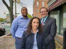 City of Newburgh staff Todd Venning, Alexandra Church, and Stanley Merritt outside City Hall.