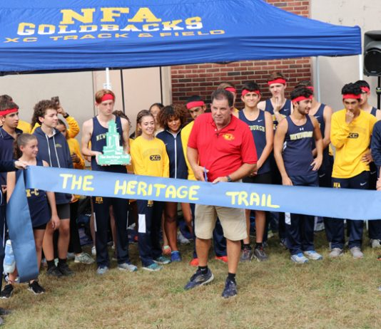 Heritage Middle School unveiled a newly cleared path donated by Newburgh Free Academy alumnus Lynn Warren, class of 1984. The path will primarily be used by the NFA cross-country team for practice and meets.