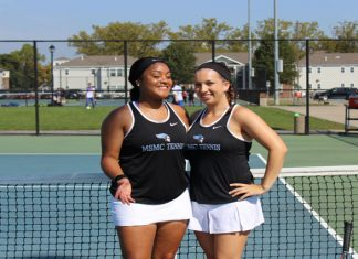 The Mount Saint Mary College Women's Tennis team got back into the win column and evened its overall record on Sunday with an impressive 9-0 home win over Vaughn on Senior Day. Pictured above MSMC seniors Miyanna Vernon and Michelle Carnovale.