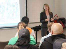 """Jennifer Santiago, a talent acquisition manager for Enterprise Rent a Car, gave the presentation """"Boss Lady"""" at Mount Saint Mary College on Tuesday, October 8. Photo: Samuel Young"""