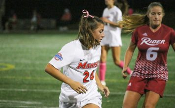Though Marist registered 14 shots, Rider's Hailey Russell headed in a goal in the 84th minute to give Rider the 1-0 victory on Saturday evening at Tenney Stadium.