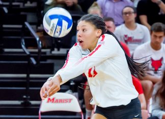 The Marist volleyball team bounced back with an impressive sweep over the 5-1 Niagara Purple Eagles.